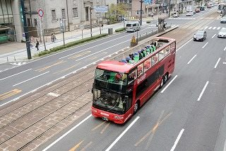 Open top double decker bus, Maple SKY Hiroshima City Peace Memorial Park On-site Tour Course